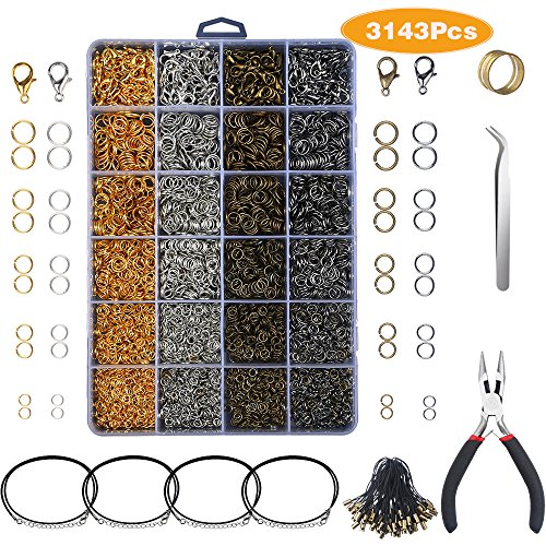 Yblntek 3143Pcs Jewelry Findings Jewelry Making Starter Kit with Open Jump Rings, Lobster Clasps, Jewelry Pliers, Black Waxed Necklace Cord for Jewelry Making Supplies and Necklace - Maker Jewelry Supplies