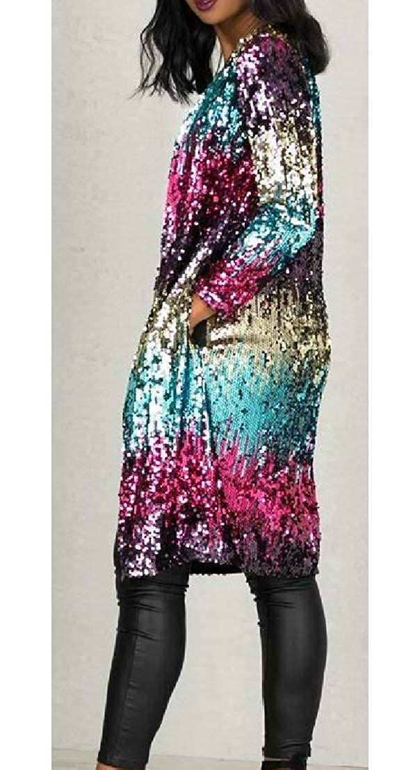 Wofupowga Womens Sequin Shiny Trench Coat Ombre Open Front Long Cardigan