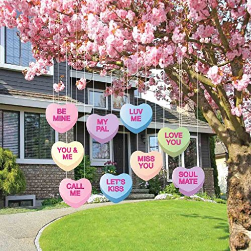 Valentine's Lawn Decorations - Hanging Candy Hearts (Set of 9) -
