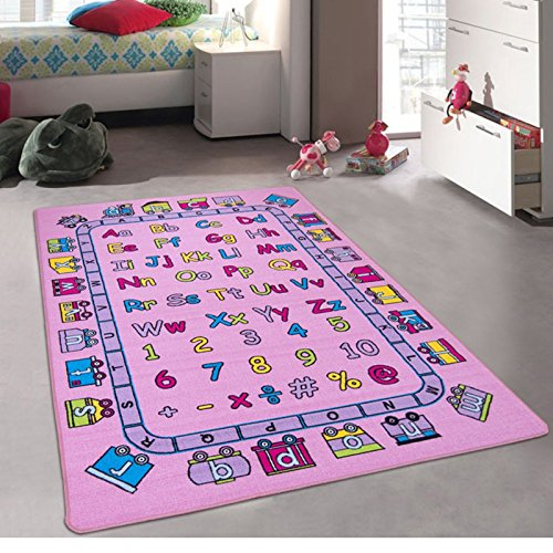 CR's Kids / Baby Room / Daycare / Classroom / Playroom Girl's Area Rug. Alphabet. Train. Letters. Numbers. Educational. Fun. Pink. Purple. Non-Slip Back. Bright Vibrant Colors (3 Feet X 5 Feet)