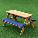 Costzon Kids Picnic Table, Solid Wood Bench Set Up To 4 Seat, Unfinished - Choose Your Favorite Finish Color- Children Play Table for Outdoor Garden Yard w/Padded Cushions