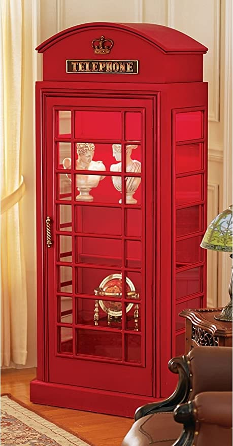 amazon com 6ft british collectible telephone booth display shelf rh amazon com london phone booth curio cabinet british phone booth display cabinet