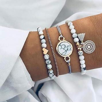 Edary Armband Set mit Quasten, weißes Marmor Armband, mit Herz, Perlen Handkette, verstellbar, für Damen und Mädchen (4 Stück)