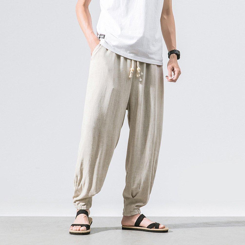 Pantalon Lin Homme /Ét/é Pantalon Homme Chino Confortable Respirant Taille Elastique Cordon de Serrage TT Global Homme Pantalon en M/élange Coton Lin Coupe Large D/écontract/é L/éger Confortable Respirant