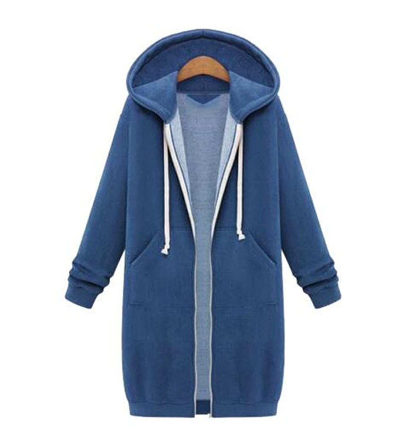Womens Casual Zipped Hooded Thick Warm Cashmere Long Hoodie Cardigan Coat Jacket