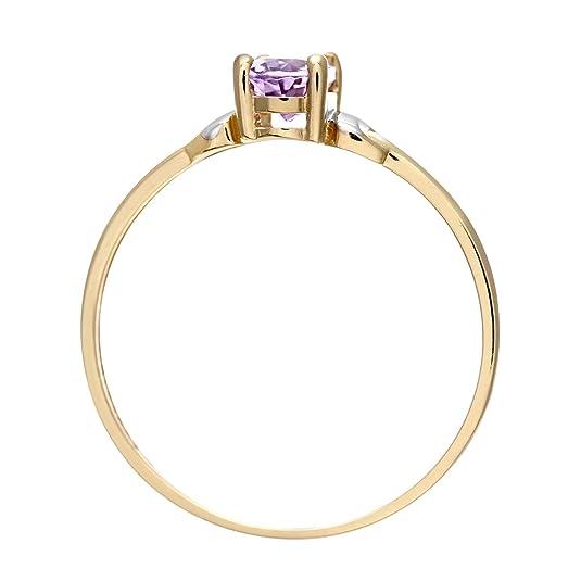 Citerna 9ct Yellow and White Gold Amethyst Birth Stone Ring Q0x4sb