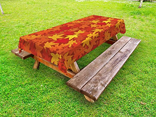 Ambesonne Orange Outdoor Tablecloth, Colorful Autumn Fall Season Maple Leaves in Unusual Designs Nature Artsy Print, Decorative Washable Picnic Table Cloth, 58 X 84 Inches, Burnt Orange