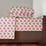 Roostery Honu 3pc Sheet Set Pink Honu And Hibiscus Flowers by Macdonaldcreativestudios Twin Sheet Set made with