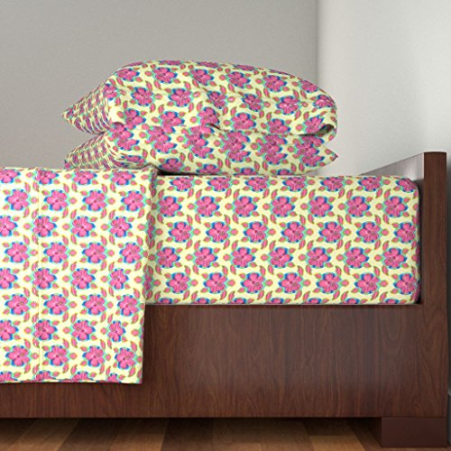 Roostery Honu 3pc Sheet Set Pink Honu And Hibiscus Flowers by Macdonaldcreativestudios Twin Sheet Set made with by Roostery