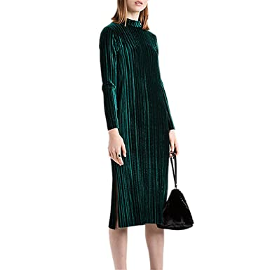 Beautifullight Great,Good looking Womens Fashion Green Velvet Dress Women Stand Neck Long Sleeve Casual Loose T Shirt Dresses Vestidos Robe Femme Fashion