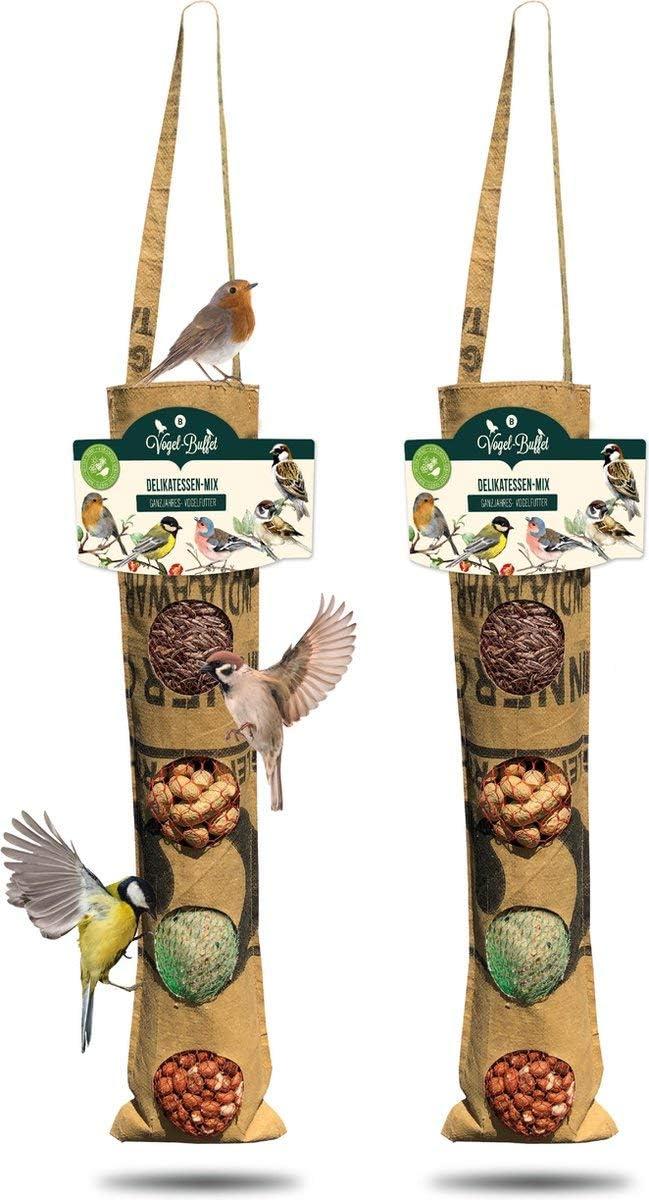 Baza - Comedero para pájaros reciclable y sostenible | columna de alimentación | 2 unidades para pájaros al aire libre para colgar