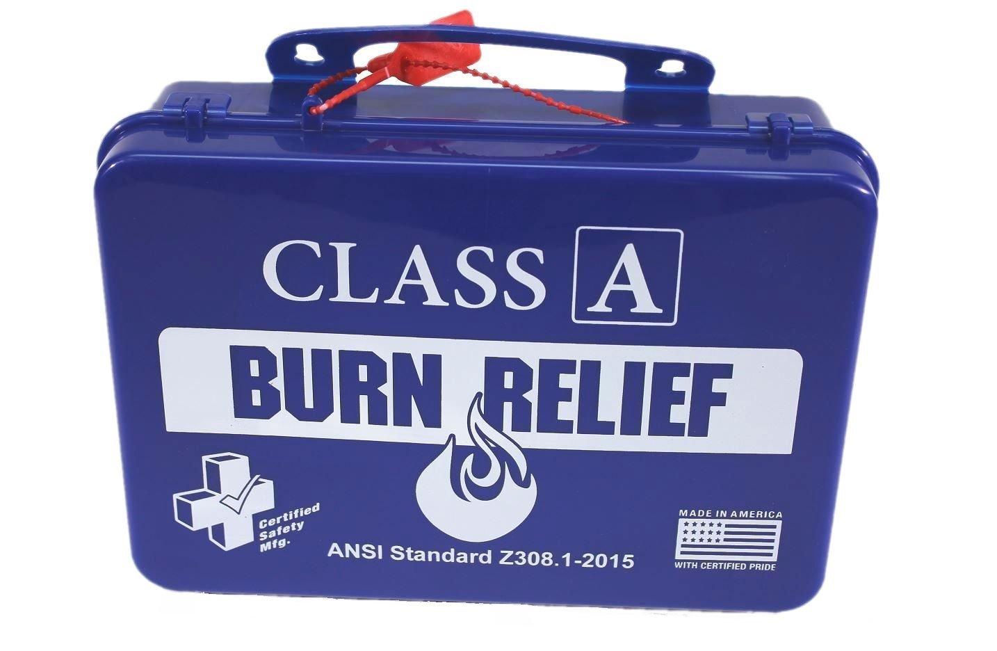 Certified Safety K616-017 18PB Class A First Aid Burn Kit, ANSI Z308.1-2015, Plastic Case, Blue