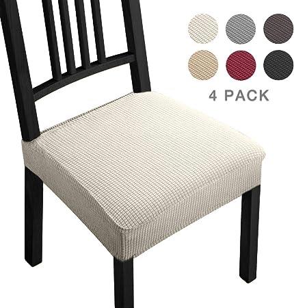 Fundas para sillas Pack de 4 Fundas sillas Comedor Fundas elásticas,Fundas de Asiento para Silla,Diseño Jacquard Cubiertas de la sillas,Extraíbles y Lavables-Decor Restaurante(Paquete de 4,Beige)-B: Amazon.es: Hogar