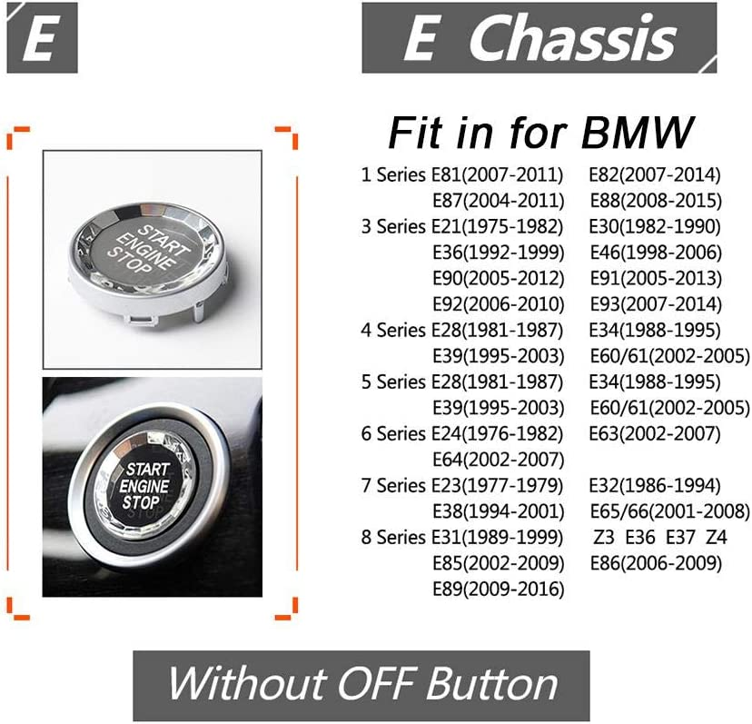 One-Button Start Crystal Button E Chassis Stop One-Key Switch Cover Engine Replacement Decor All Series Simple Installation for BMW 3//5 Series X1//3//5//6 Rosymity