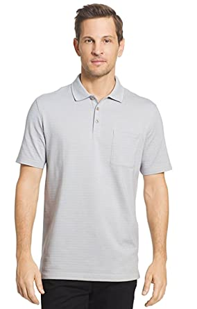 bc64df93b2 Van Heusen Men s Classic Fit Natural Stretch Easy Care Short Sleeve Striped  Jacquard Polo (Small