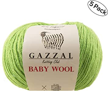 Gazzal - Ovillo de lana para bebé (50 g, 200 m, 40 % lana, 20 ...