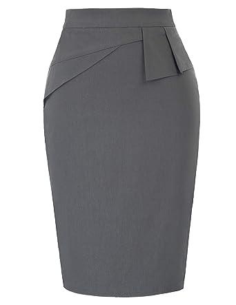 8ea33d646 Belle Poque Stretchy Pencil Skirts Women Knee Length Gray Size 2XL BP815-2