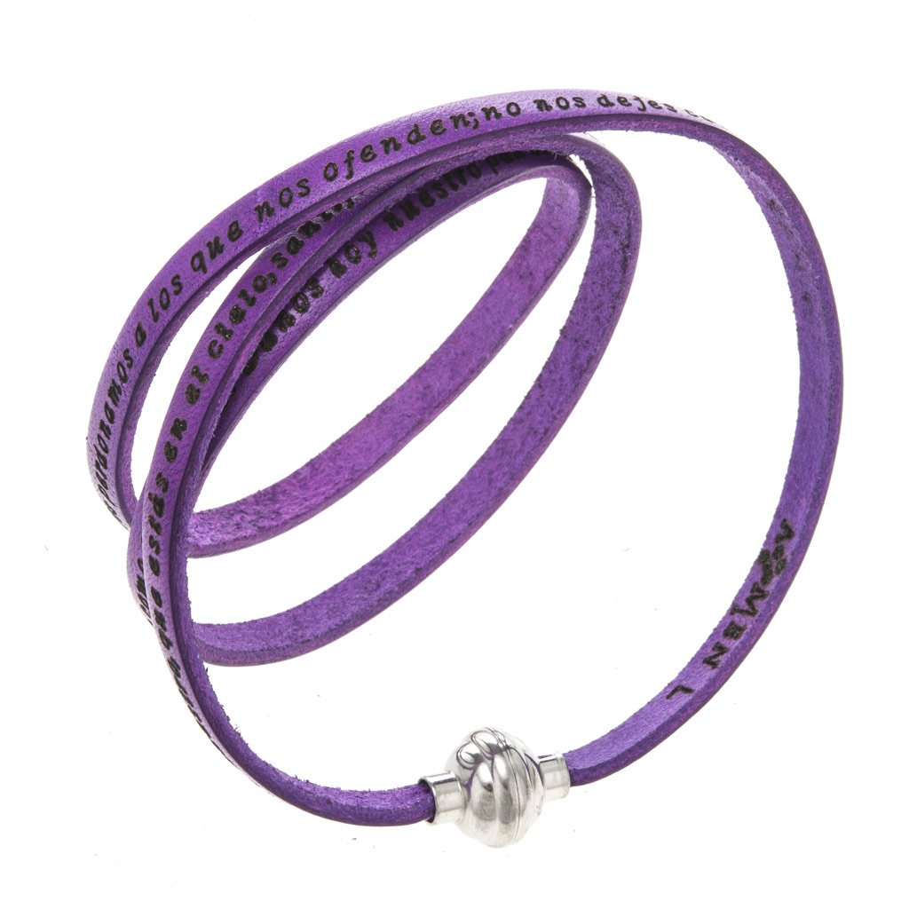 Holyart Amen Bracelet in purple leather Our Father SPA, 57 cm (22.46 inc.)