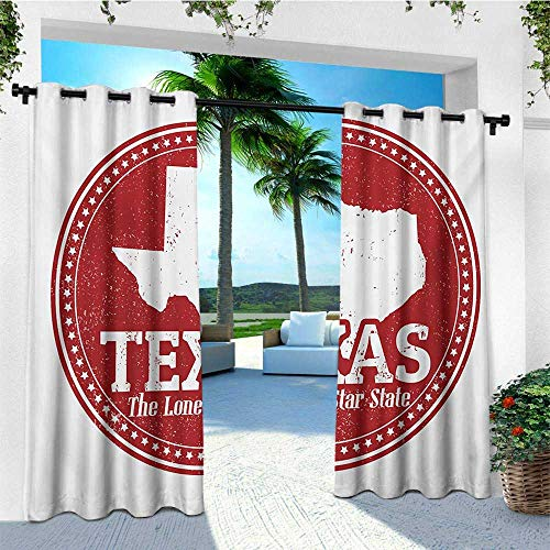 leinuoyi Texas Star, Outdoor Curtain Extra Wide, Vintage Stamp Pattern Map and The Lone Star State Written in Circular Frame, Outdoor Curtain Set for Patio Waterproof W120 x L96 Inch Ruby and White ()