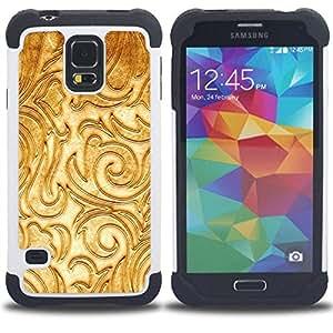 """Pulsar ( Floral blanco de lujo Textura Socorro"""" ) SAMSUNG Galaxy S5 V / i9600 / SM-G900 V SM-G900 híbrida Heavy Duty Impact pesado deber de protección a los choques caso Carcasa de parachoques [Ne"""