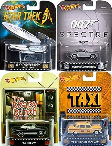 Retro Entertainment 4 Pack Hot Wheels Spectre Aston Martin DB10 + Star Trek U.S.S. Enterprise + Taxi TV Show Checkered Cab Car & Brady Bunch - 1956 Chevy Corvette