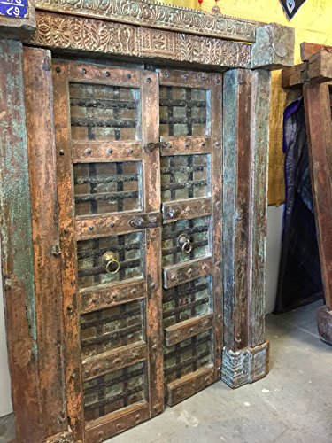 Mogul Antique India Doors NATURAL DISTRESSED Rustic Vintage Teak Iron Carved Architecture Barn Doors SPANISH Hacienda Shabby Chic 18C by Mogul Interior