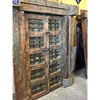Mogul Antique India Doors NATURAL DISTRESSED Rustic Vintage Teak Iron Carved Architecture Barn Doors SPANISH Hacienda Shabby Chic 18C