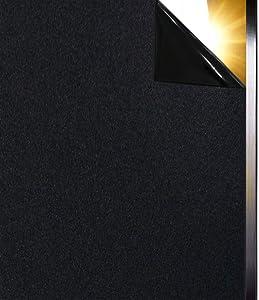 Qualsen Blackout Window Film Privacy Window Film Sun-Light Control Window clings Light Blocking Window Tint Non Adhesive Window Matte Black Decorative Film (47.2x157inch)(120x400cm)