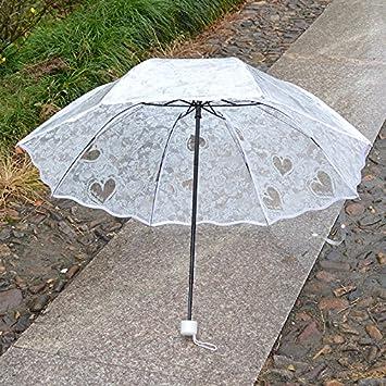 HAN-NMC Paraguas plegable paraguas transparente grueso