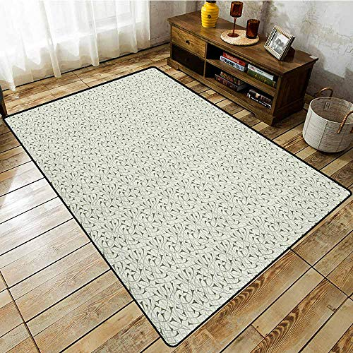 Non-Slip Rug,Abstract,Floral Silhouettes with Abstract Designs Art Nouveau Style Nature Illustration,Anti-Static, Water-Repellent Rugs Pale ()