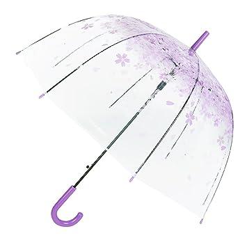 Flydragon - Paraguas transparente, cúpula transparente, resistente al viento, semiautomático, plegable para