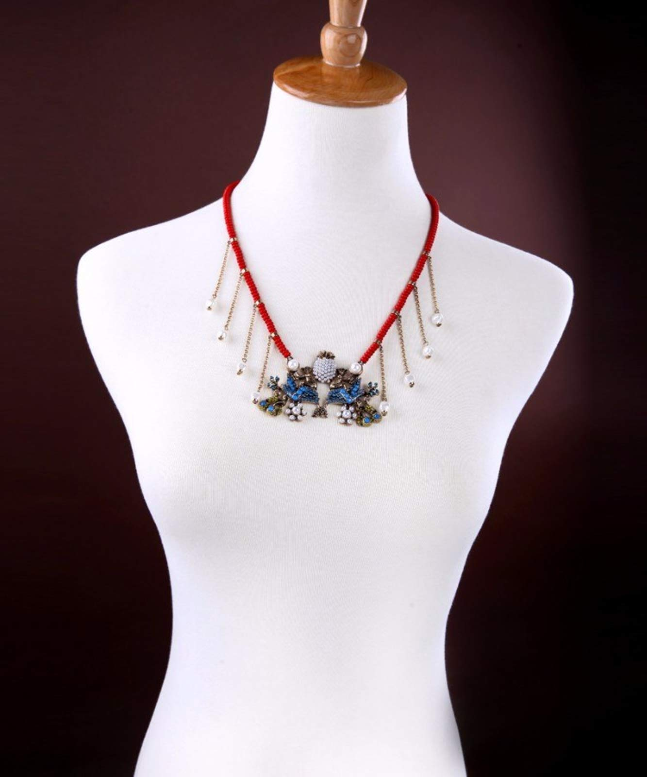 ptk12 New Weave Red Beads Chain Bib Statement Necklace Gold Color Monkey Animal