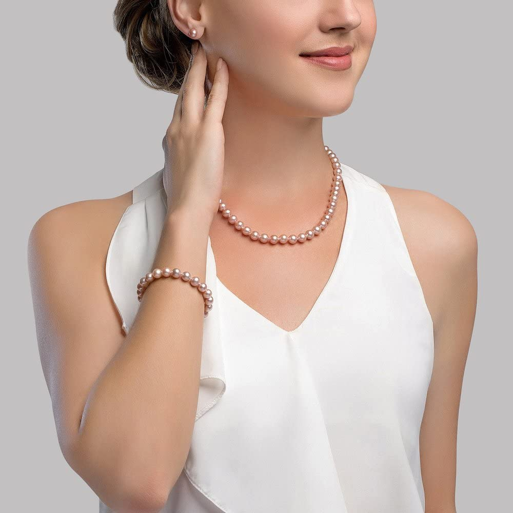 Jewel Tie 14k Yellow Gold 5-6mm FW Cultured Pearl White 5in Bracelet 14in Necklace Earring Set