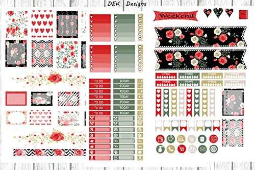 Shabby Chic Rose Sticker Kit. 6 half size sheets included on matte repositionable sticker paper. Kiss cut, just peel and stick. Sized for Erin Condren, but will work in most planners. ()