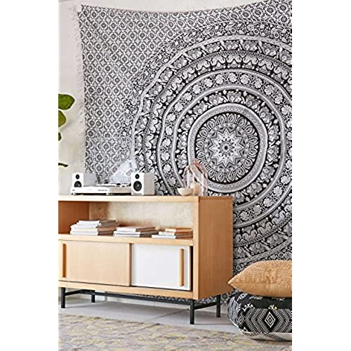 Tapestry Double Black And White Wall Hanging Curtain Bohemian Hippie Tapestries 92x82 By RoyalIndia