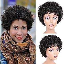 Afro Kinky Curly Wig Short Afro Wigs Brazilian Virgin Human Hair 100% Human Hair Wigs for Black Women Natural Looking 6.5 inch (1#)