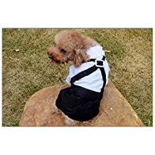 Kpmall Pet Dog Puppy Shirt Suit Wedding Groom Tuxedo Bowtie Cloth Outfit -L