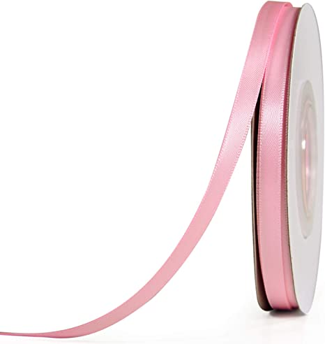 3 Yards Pink Satin Ribbon with White Glitter Hearts