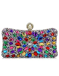 Flada Rhinestone Crystal Clasp Peacock Bling Clutch Evening Purse Bag With Chain