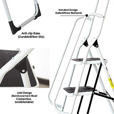 Keraiz Step Ladders Folding Step Stool With Hand Grip Non