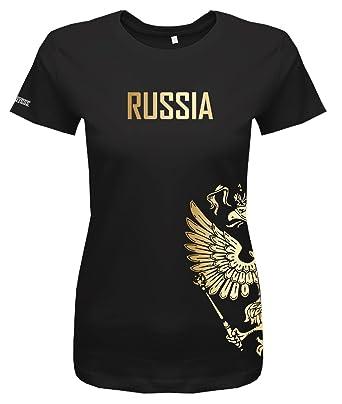 696a6cef20125b WM 2018 - Russland - Russia - Adler Gold - Fanshirt - Damen T-Shirt   Amazon.de  Bekleidung