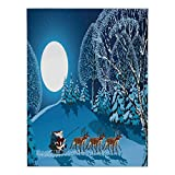Satin Rectangular Tablecloth [ Christmas Decorations,Santa in Sleigh a Holy Night with Full Moon Snowy Winter Xmas Theme,Navy Blue ] Dining Room Kitchen Table Cloth Cover