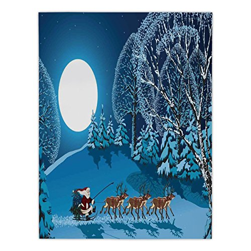Satin Rectangular Tablecloth [ Christmas Decorations,Santa in Sleigh a Holy Night with Full Moon Snowy Winter Xmas Theme,Navy Blue ] Dining Room Kitchen Table Cloth Cover by iPrint
