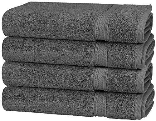 m 700 GSM Cotton Large Hand Towels (Grey, 4-Pack,16 x 28 inches) - Multipurpose Towels for Bath, Hand, Face, Gym and Spa ()