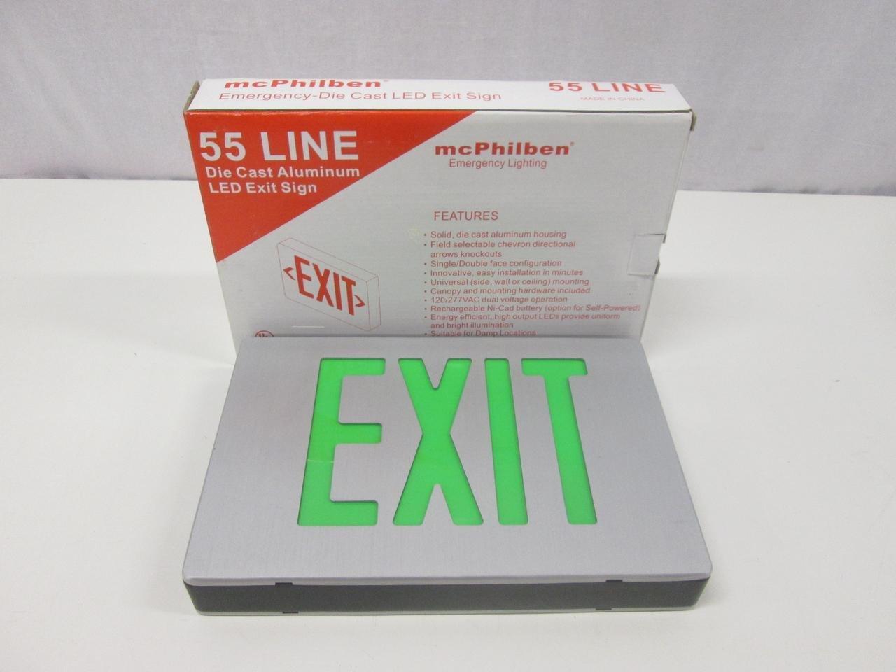 McPhilben ER55L2G LED Aluminum Exit Sign T60919