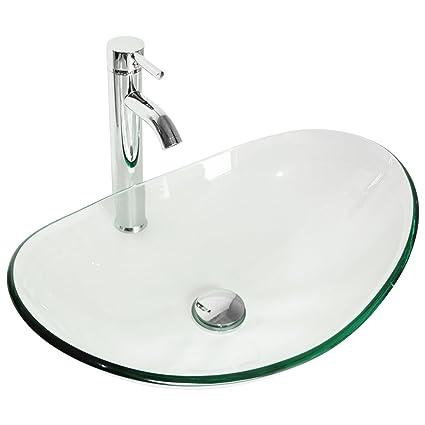 Sliverylake Modern Oval Bathroom Clear Glass Vessel Sink With Single Lever  Chrome Faucet U0026 Pop
