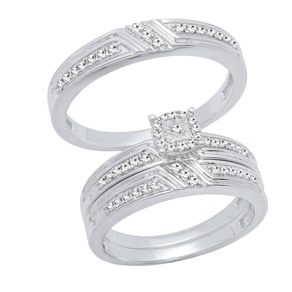 0.65 Carat (ctw) Sterling Silver Round Cut Diamond Men & Women's Engagement Ring Trio Set