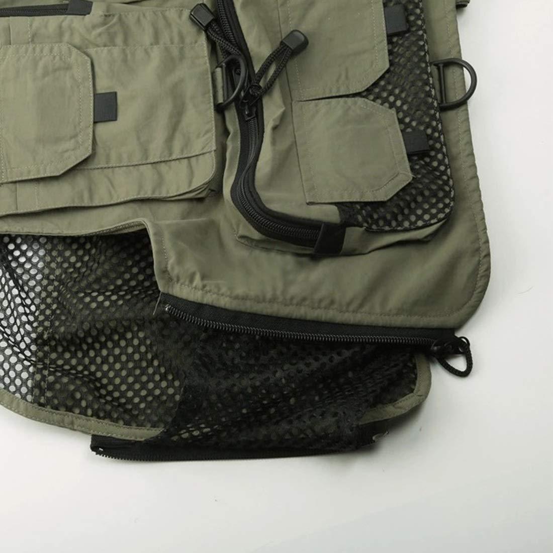 FENGXONG Gilet de p/êche Sac /à Dos Taille Ajustable Mouche Pack de Gilet de p/êche for Le mat/ériel et l/équipement Comprend Une Poche /à Eau et Une Poche for t/él/éphone