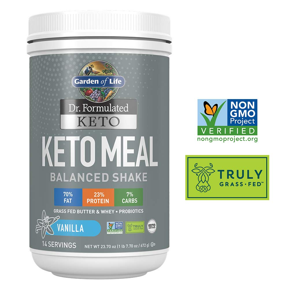 Garden of Life Dr. Formulated Keto Meal Balanced Shake - Vanilla Powder, 14 Servings, Truly Grass Fed Butter & Whey Protein plus Probiotics, Non-GMO, Gluten Free, Ketogenic, Paleo Meal Replacement by Garden of Life