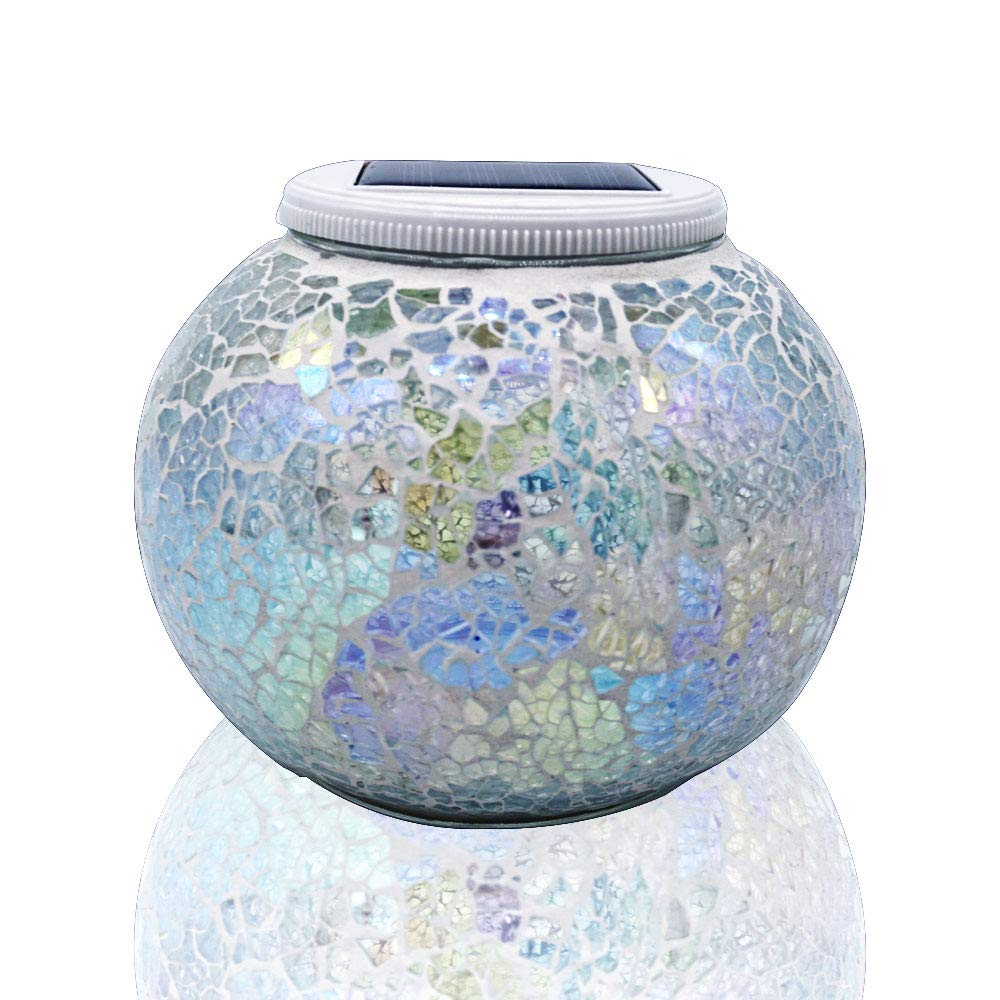 Solar Glass Ball Table Light,Color Changing Solar Powered Mosaic Glass Table Lamps, Waterproof Led Night Light for Bedroom Yard Patio Halloween Christmas Decorations, Ideal Gifts